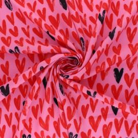 Tissu crêpe élasthanne Loving me - rose x 10cm