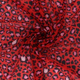 Tissu mousseline Loving leopard - Rouge x 50cm