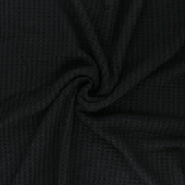 Waffle Knitted viscose fabric - black x 10 cm