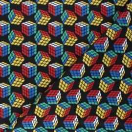 Tissu coton Camelot Fabrics Rubik's Cube - noir x 10cm