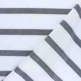 Tissu voile de coton rayé lurex Gruissan - noir x 10cm