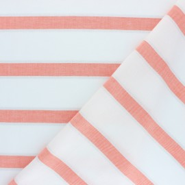 Striped Lurex Cotton Voile Fabric - coral Gruissan x 10cm