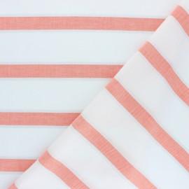 Tissu voile de coton rayé lurex Gruissan - corail x 10cm