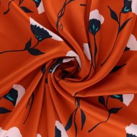 Tissu satin polyester Laurine La Maison Victor - orange x 10cm