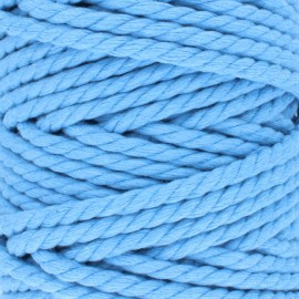 Cordon coton macramé - bleu x 1m