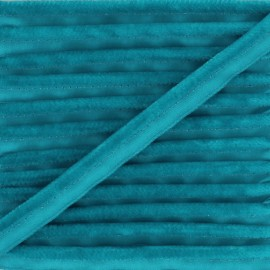 Passepoil velours Hilda - Bleu paon x 1m