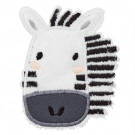 Zebra iron-on patch - white