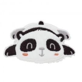 Sleeping Panda iron-on patch - white