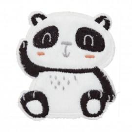 Seated Panda iron-on patch - white