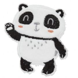 Standing Panda iron-on patch - white