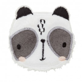 Panda's face iron-on patch - white