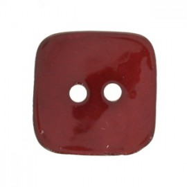 Mother-of-Pearl square button - red cherry