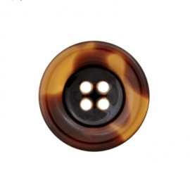Polyester button - black tortoiseshell