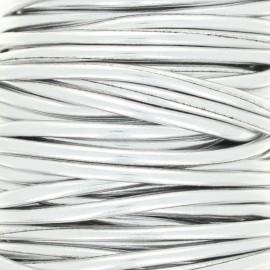Metallic imitation leather Cord - silver x 1m