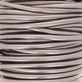 Metallic imitation leather Cord - steel x 1m