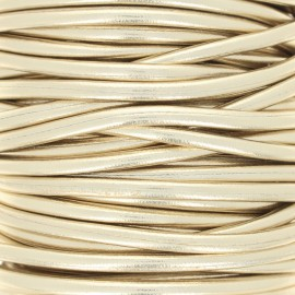 Metallic imitation leather Cord - gold x 1m