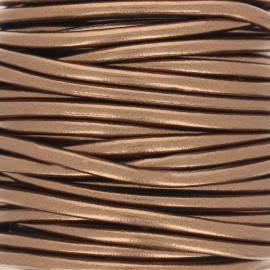 Metallic imitation leather Cord - brass x 1m