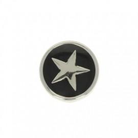 Bouton Métal Star 10 mm - Noir/Argenté