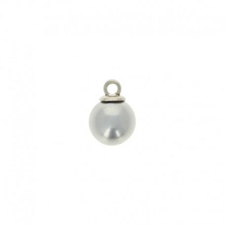 10mm Pearl button ball - silver Douceur