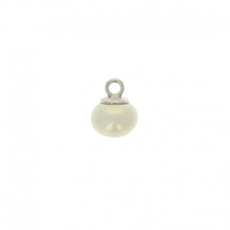 10mm Pearl button oval - ivory Clémence