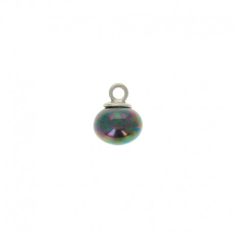 10mm Pearl button oval - iridescent black Clémence
