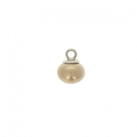 Bouton perle ovale Clémence 10 mm - beige