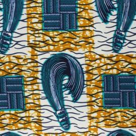 Wax print fabric - ochre Winza x 10cm