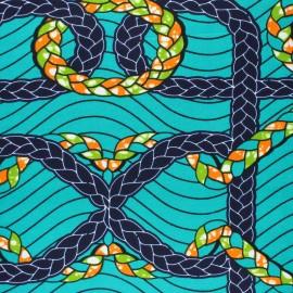 Tissu Wax Wasa - vert x 10cm