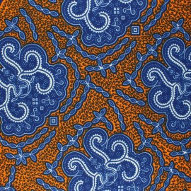 Wax print fabric - navy blue Mwaya x 10cm