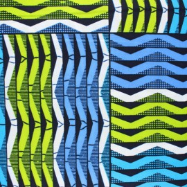 Tissu Wax Bérika - bleu x 10cm