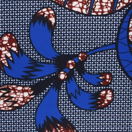 Tissu Wax Kizimbari - bleu x 10cm