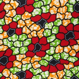 Wax print fabric - red Simbo x 10cm