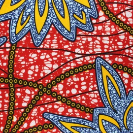 Wax print fabric - red Kwaga x 10cm