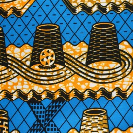 Wax print fabric - Blue Musosi x 10cm