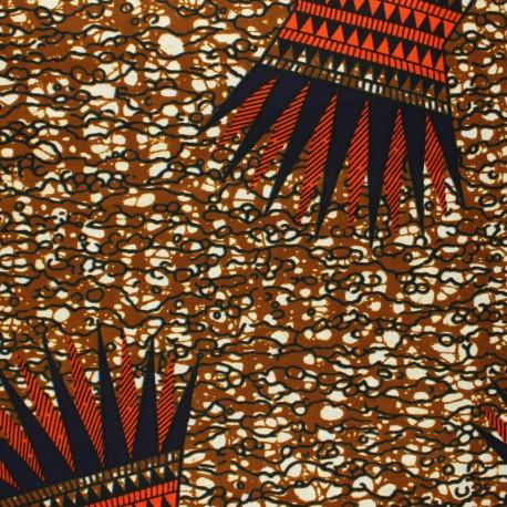 Wax print fabric - brown Shirati x 10cm