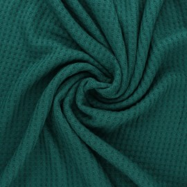 Waffle Knitted viscose fabric - emerald green x 10 cm