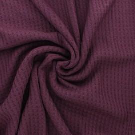 Waffle Knitted viscose fabric - plum purple x 10 cm