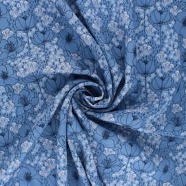 Cotton Steel Rayon fabric - Emilia Meghan blue x 10cm