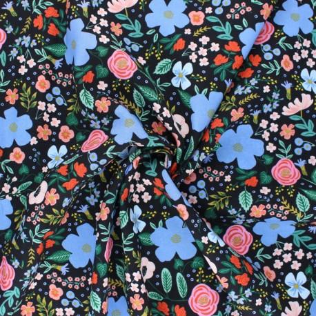 Cotton Steel Rayon fabric Rifle Paper co. - Primavera Wild rose black x 10cm