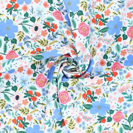 Tissu rayonne Cotton Steel Rifle paper - Primavera - Wild rose - blanc x 10cm