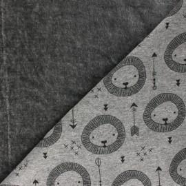 Tissu sweat envers minkee Lion - gris foncé chiné x 10cm