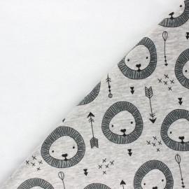 Sweatshirt fabric with minkee reverse - mottled light grey Lion x 10cm