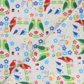 Tissu toile de coton Kokka Sparkling parrot - écru x 10 cm