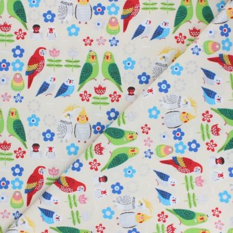 Kokka cotton canvas fabric - raw Sparkling parrot x 10 cm