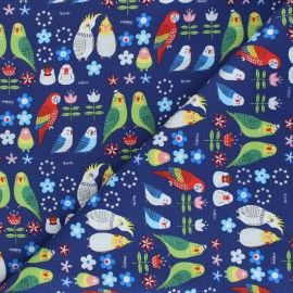 Kokka cotton canvas fabric - blue Sparkling parrot x 10 cm