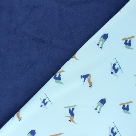 Softshell fabric Passion Snowboard - blue x 10cm