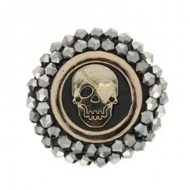 Bouton polyester rond Diamond skull 40 mm - Noir