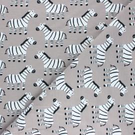 Cotton jersey fabric Zebra - taupe grey x 10cm