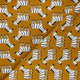 Cotton jersey fabric Zebra - mustard yellow x 10cm