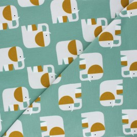 Cotton jersey fabric Elio l'Eléphant - eucalyptus x 10cm